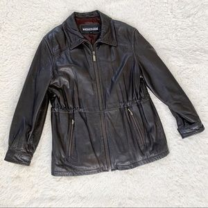 KENNETH COLE Reaction Brown Leather Jacket Coat